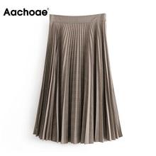 Pleated-Skirt Midi Plaid Aachoae Vintage Elegant High-Waist Faldas-De-Mujer Loose Female