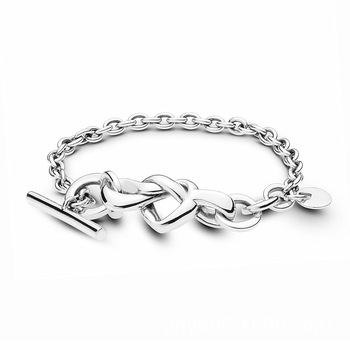 цена на Real 925 Sterling Silver Bracelet Knotted Heart Heart-embellished T-clasp Link Bangle Fit Women Bead Charm Fashion Jewelry