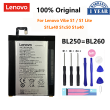 100% Оригинальный аккумулятор BL250 2700 мАч для Lenovo VIBE S1 S1c50 S1a40 BL260 VIBE S1Lite S1La40, аккумуляторные батареи для телефона, батарея
