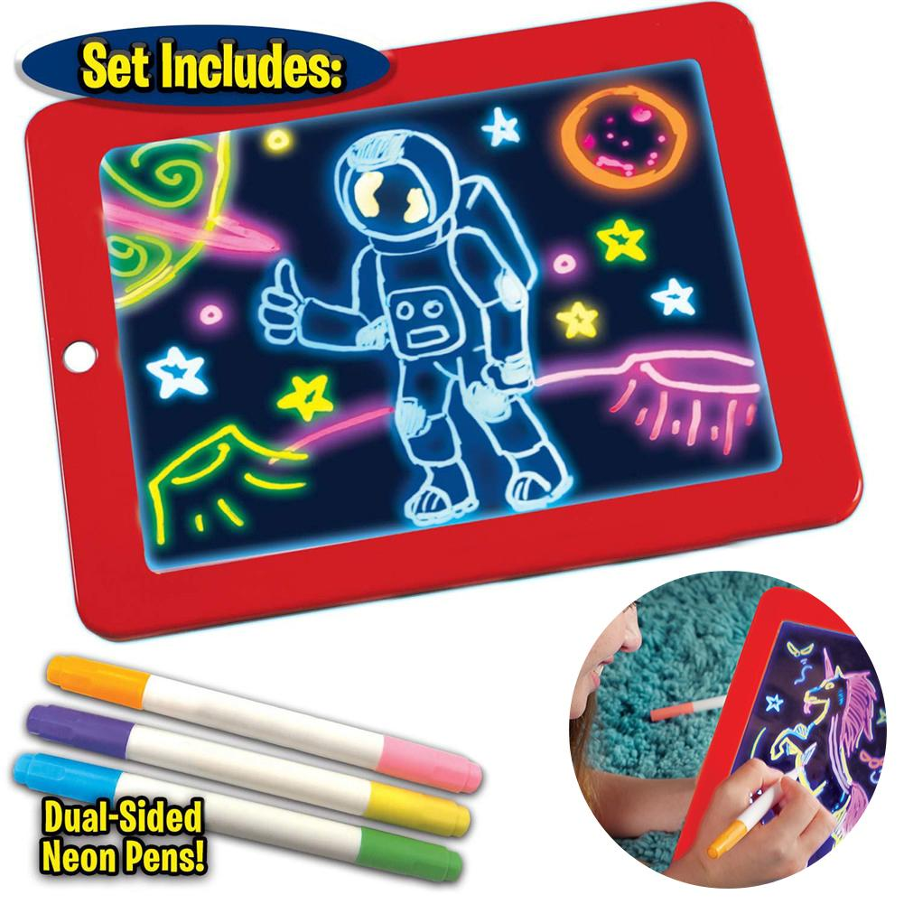 3D Light Up Magic Pad LED Writing Board For Plastic Creative Art Magic Board With Pen Brush Children Clipboard Educational Kids