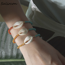 Salircon Bohemian Natural White Shell Bracelet Bangle 3Pcs/Set Summer Beach Fashion Colorful Beads Chain Anklet Gifts