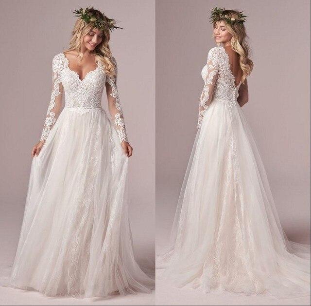 A Line Long Sleeve Bridal Dresses Wedding Dress 2020 Tulle Lace Long Ivory Vestido De Novia Open Back свадебное платье Plus Size 1