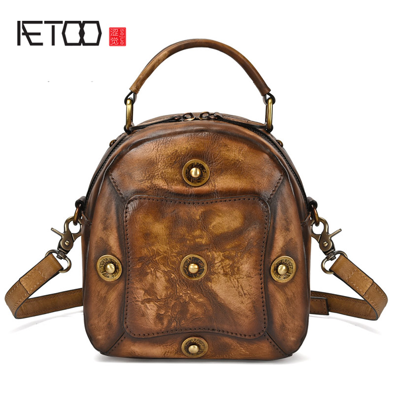 AETOO New handmade coloring womens leather single shoulder bag layer cowhide vintage