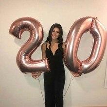 2 pçs 32 ou 40 polegada feliz 20 aniversário balões folha rosa ouro número 25th anos de idade decorações de festa homem menino menina suprimentos