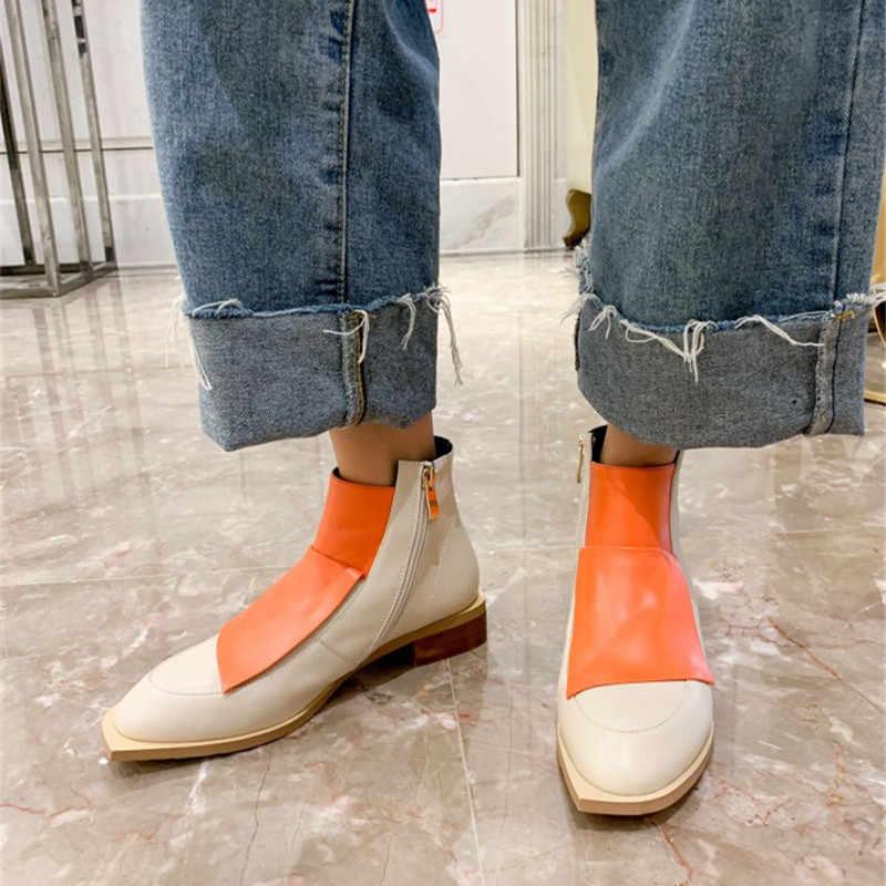 Prova Perfetto Şık Patchwork yarım çizmeler Kadınlar Charm Bayanlar Kış Yüksek Kaliteli yarım çizmeler Rahat Deri düz çizmeler