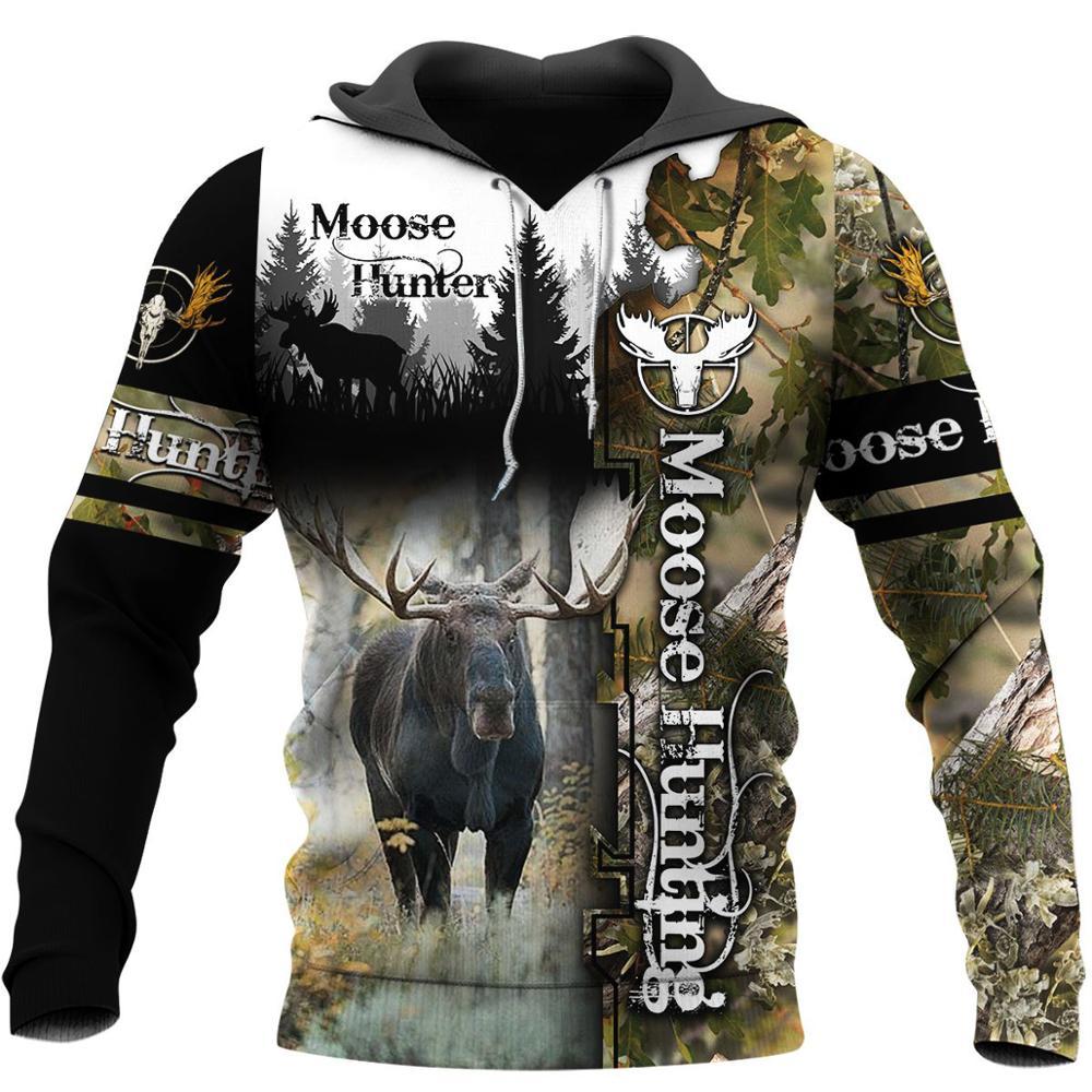 Moose Hunting Camo 3D Print Hoodies men/women Harajuku Fashion Hooded Sweatshirt Autumn Hoody Casual streetwear hoodie SL-058
