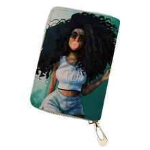 HaoYun African Girls Prints Women PU Leather ID Card Cover Mini Business Holder for Ladies Travel Wallet Case Coin Purse