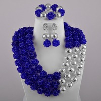 Crystal Beaded Ball Necklace Royal Blue Silver African Jewelry Set Nigerian Wedding Beads Sets
