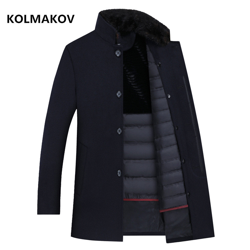 2020 new arrival thicked men's 90% white duck down wool jackets ,men's winter warm coat,Fashion classics wool winter trench coat