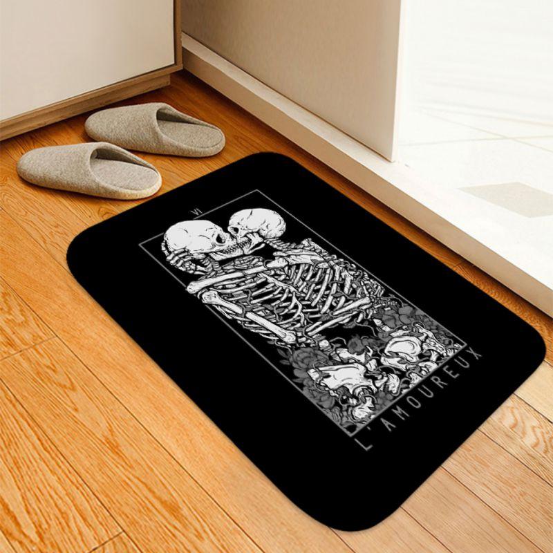 Halloween Couple Skull Pattern Carpet Kitchen Living Room Rug For Halloween Party Home Decoration Skeleton Area Rug Floor Mat
