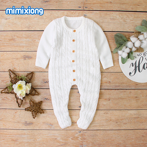 Image 2 - Baby Rompers Clothes Solid Knitted Newborn Toddler Kids Girls Jumpsuits Long Sleeves Infant Boys Overalls Children Outfits 0 24M