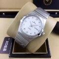 Элитный бренд новый Для мужчин серебристый, черный белый автоматические механические Нержавеющаясталь часы с сапфирами бриллиантами циф...