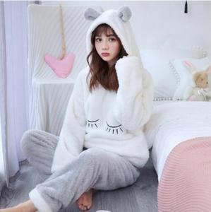 Image 2 - Fdfklak Cartoon cute pajamas for women long sleeve flannel winter pyjamas women home suit warm sleepwear pajama pijamas sets