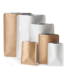 100Pcs/Lot Kraft Paper Mylar Foil Open Top Bag Rounded Corner Heat Vacuum Seal Tear Notch Food Bean Coffee Tea Pack Pouches