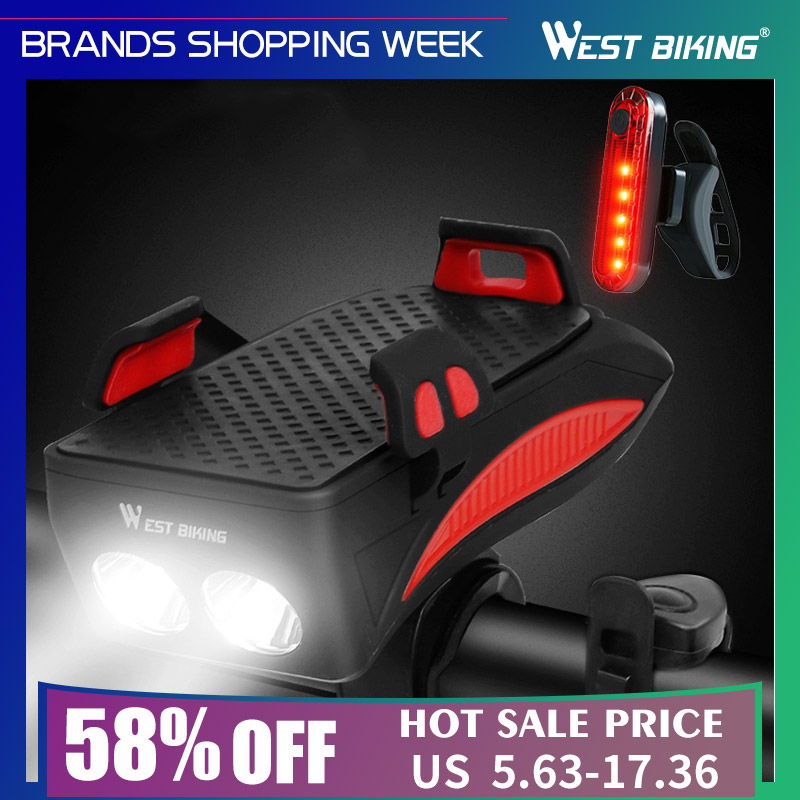 Bike-Light Phone-Holder Power-Bank Bicycle Front-Torch West-Biking Lumen 400 with 2000/4000mah