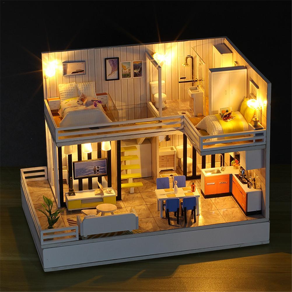 Time élégant maison bricolage cabine modèle assemblé à la main avec couvercle anti-poussière mouvement de musique pour les cadeaux de noël