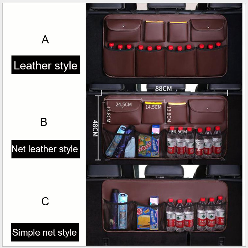 Image 5 - O SHI CAR PU leather Car Rear Seat Back Storage Bag Multi use Car Trunk Organizer Auto Stowing Tidying Auto Interior Accessories-in Stowing Tidying from Automobiles & Motorcycles