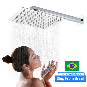 10/12 Inch Square Stainless Steel Shower Head Rainfall Head Shower Mirror Chromed Wall Mounted Square Shower Head Shower Arm