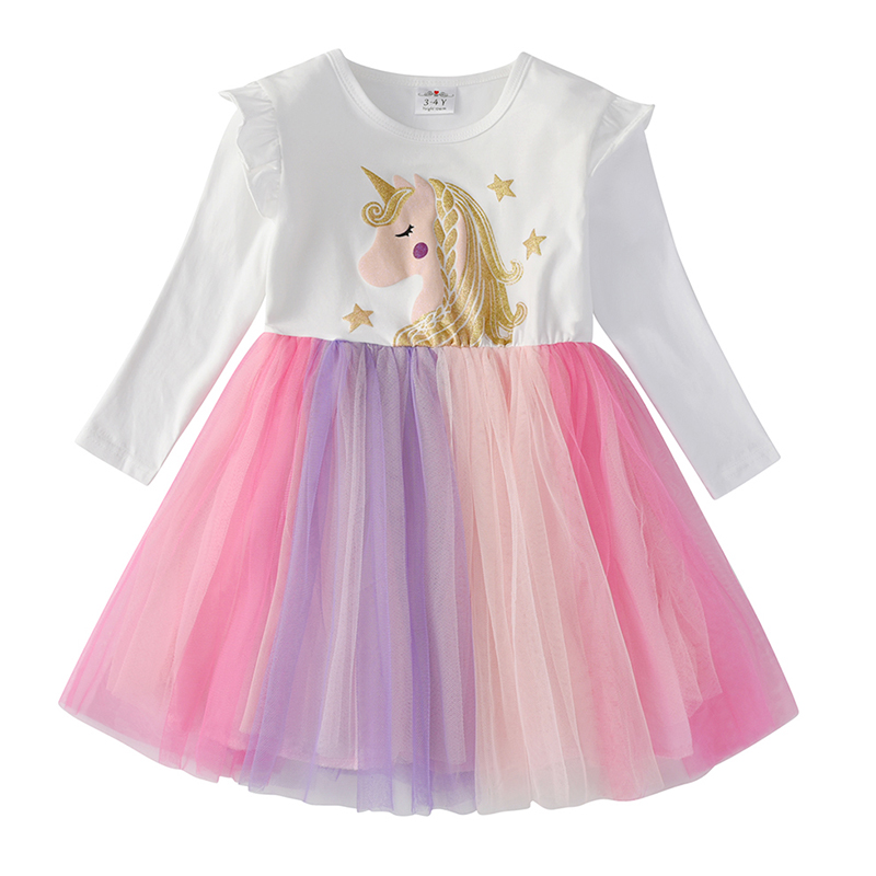 VIKITA Kids Long Sleeve Dresses for Girls Party Dress Star Printed Birthday Tutu Dresses Children Casual Wear Princess Vestidos 5