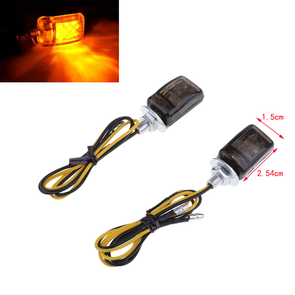 2pcs Universal LED Black Micro Mini Tiny Small Indicators Turn Signals Motorcycle MotorBike For Yamaha
