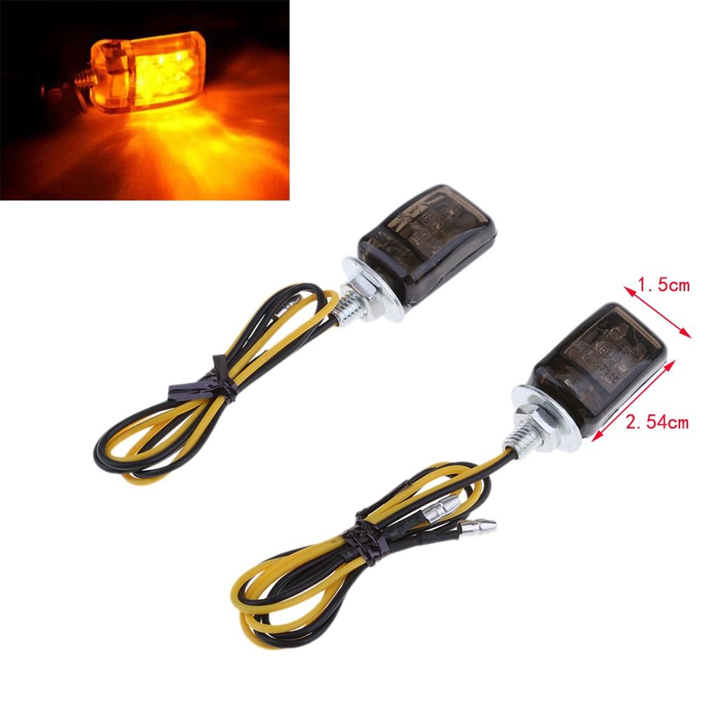 2pcs Universal LED Black Micro Mini Tiny Small Indicators Turn Signals Motorcycle MotorBike For Yamaha