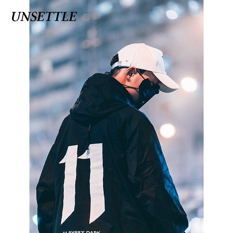UNSETTLE 2019, Японская уличная куртка с капюшоном, мужские куртки с принтом в стиле хип хоп, пуловер, куртка, модное пальто, мужская куртка в стиле хип хоп
