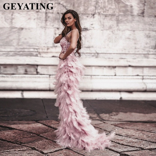 Arabic Pink 3D Floral Mermaid Feathers Prom Dresses 2k20 Long African Evening Gowns Semi Formal Gala Dress Graduation Party Gown 2