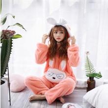 2019 Autumn Winter Pajamas Women Pajama Sets Flannel Pink Rabit Cartoon Thick Warm Sleepwear Cute Animal Homewear