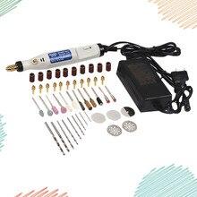 46Pcs Mini 18V Small Electric pen Polishing Machine DIY Engraving Pen Miniature Carving Pen with US Plug (White)