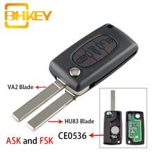 Bhkey carro remoto chave para peugeot 207 307 407 208 308 408 607 inteligente entrada keyless fsk ou pedir 3 botões ce0536