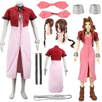 Game cosplay Final Fantasy Number Seven Aeris Gainsborough Denim PU Cosplay Costume Halloween