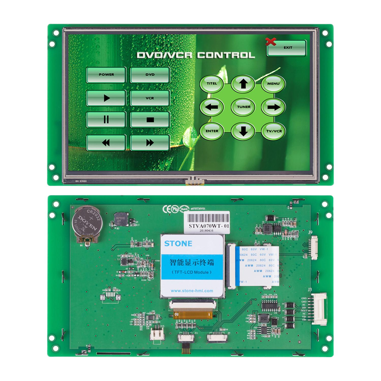 STONE 7 Inch HMI Smart TFT LCD Display Module With Controller  Board+ Program + Touch Screen + RS232/RS485 Interface