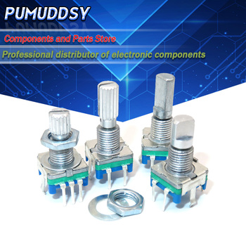 5PCS Half / Plum axis rotary encoder, handle length 15mm 20mm code switch/EC11/ digital potentiometer with switch 5Pin - discount item  7% OFF Active Components