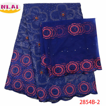 NIAI bazin riche getzner 2019 high qaulity african lace fabrics with beads blue embroidered 5+2yards lace fabrics XY2854B-2