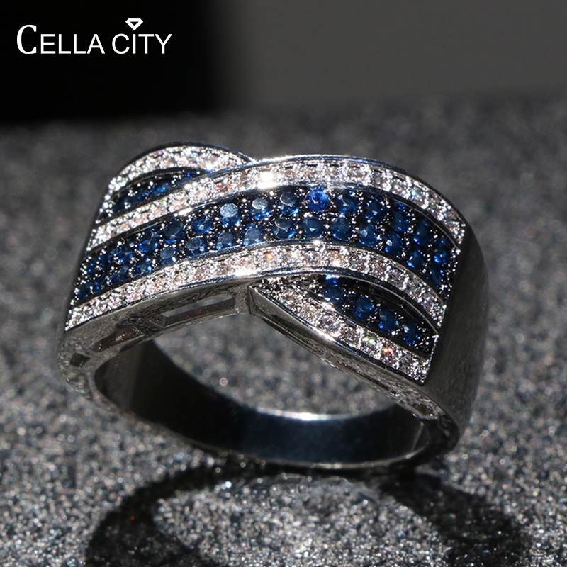 Cellacity Classical Vintage Silver 925 Ring for Women Fine Jewelry Gemstones Dark blue Female Accessory for Anniversary Wholesal