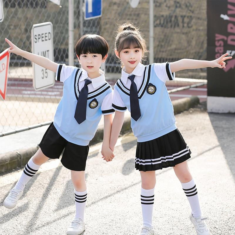 100-180cm Kids School Uniforms Korea British Boys Girls Cotton Clothing Set Primary Student Class Wear Performance Costumes