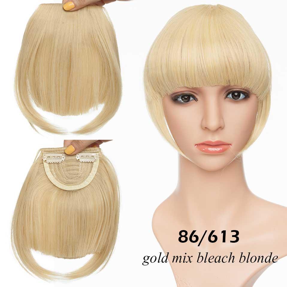 SNOILITE короткие передние тупые челки Клип короткая челка волосы для наращивания прямые синтетические настоящие натуральные накладные волосы - Цвет: 86-613
