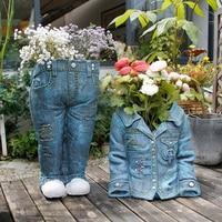 Jeans Denim Jacket Sculpture Statue Garden Decoration Ornaments Modern Creative Personality Flowerpot Succulent Outdoor Crafts