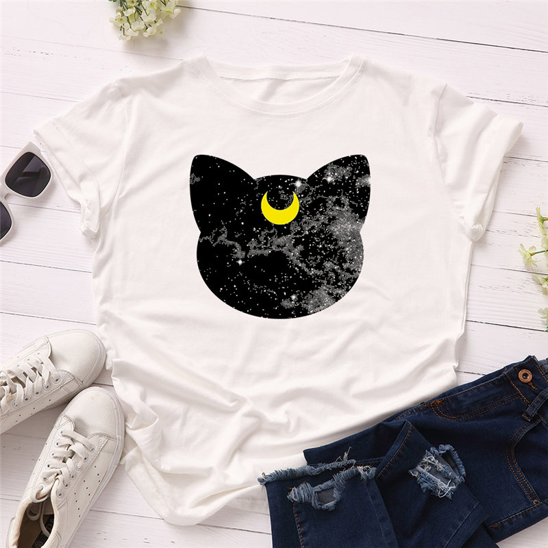 Black Cat, Moon, Stars T-Shirt