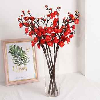 Sztuczne kwiaty kwiat śliwy wiśnia czerwona śliwka kwiat śliwy pianki Christmas Berry sztuczne kwiaty dla domu dekoracje do salonu tanie i dobre opinie CN (pochodzenie) Cherry Red Plum Blossom Główka kwiata Na Dzień Matki Z tworzywa sztucznego Wedding Banquet Party Dining Table Restaurant Hotel Home Indoor