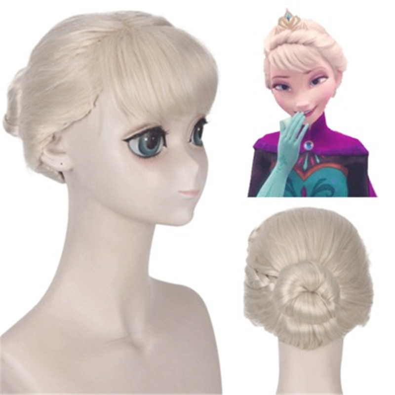 Anime Movie Princess Elsa Wigs Modeling Styled Blonde Braided Synthetic Hair Halloween Costume Wig Cosplay + Free Wig Cap image