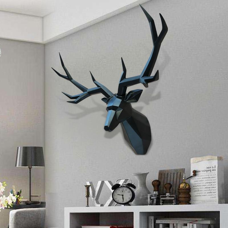 Super Big Home Decor Accessories 3D Deer Statue Animal Figurine Wall Decoration Sculpture 70x50cm Ornament Wedding Decorations