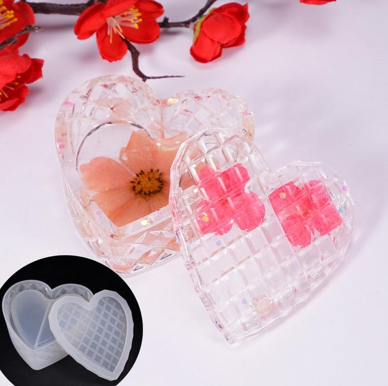Heart Shaped Cut Jewelry Gift Box Storage Box Mold UV Resin Jewelry Molds Jewelry Tools Jewelry Accessories
