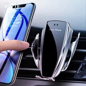 Image 1 - Автомобильное беспроводное зарядное устройство с автоматическим зажимом для iPhone 11 Pro XS MAX X 10 Вт Быстрая зарядка для Samsung Huawei P40 P30 Pro держатель для телефона