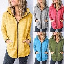 2021 Hooded Fashion Women Solid Color Zipper Long Sleeve Sport Blouse Tops Hooded Sweatshirt толстовка женская