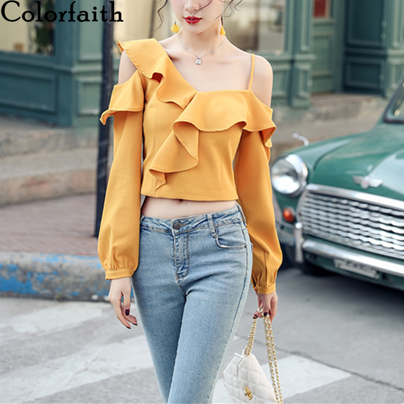 Colorfaith New 2020 Women Spring Summer Short Blouse Shirts Ruffles Sexy Irregular One Shoulder Hollow Out Lace Up Tops BL9184
