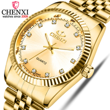 CHENXI Men Gold Stainless Steel Watch Top Brand Male Quartz Golden All-Steel Wristwatches Man Rhinestones Luxury Quartz-Watches