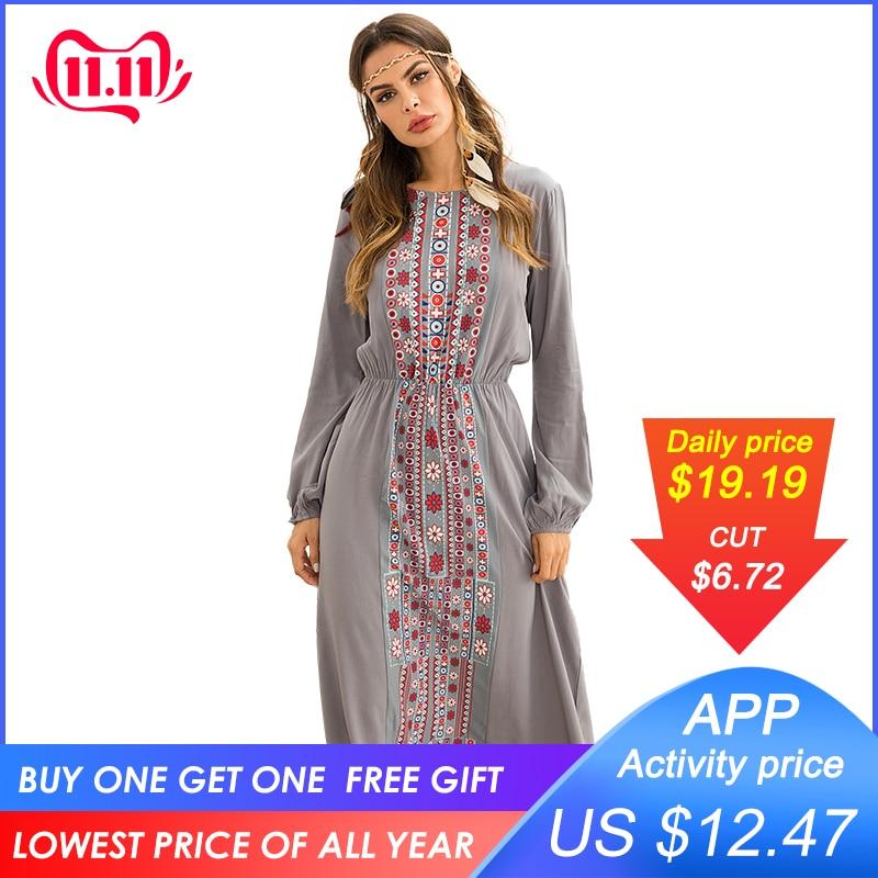 Siskakia Women long Dress Autumn 2019 Fashion Ethnic Printing Maxi Dresses long sleeve Beach Holiday Vocation Wears Gray Blue