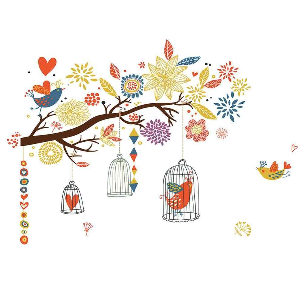 Autocollant mural avec branche cage à oiseaux   Papier peint autocollant créatif, pour décoration de la maison, chambre à coucher et salon, Stickers artistiques, pour chambres d'enfants