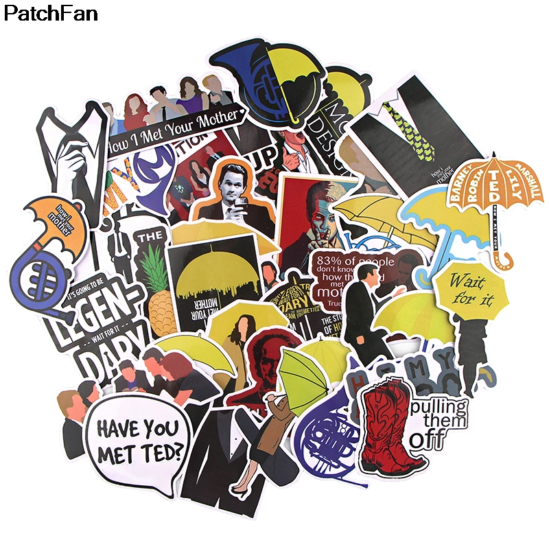 Patchfan 37pcs How I Met Your Mother Pvc Waterproof Stickers For Scrapbooking Luggage Skateboard Phone Laptop Wall Guitar A2687